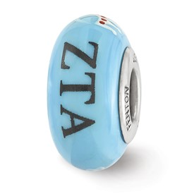 Ster.Silver Reflections Hand Painted Zeta Tau Alpha Fenton Glass Bead