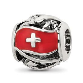 Reflection Beads Sterling Silver Enameled Switzerland Bead
