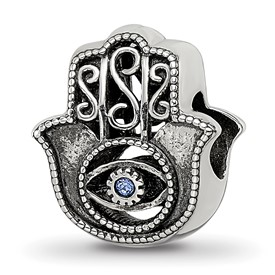Reflection Beads Sterling Silver Antiqued Blue Crystal Hamsa Bead
