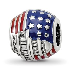 Reflection Beads Sterling Silver Enameled American Flag Bead