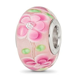 Reflection Beads Sterling Silver CZ Pink Floral Glass Bead