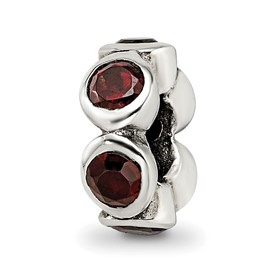 Reflection Beads Sterling Silver Red CZ Bead