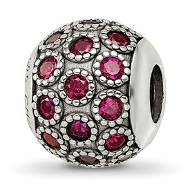 Reflection Beads Sterling Silver Red Corundum Antiqued Bead