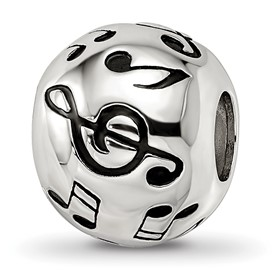 Reflection Beads Sterling Silver Enameled Musical Notes Bead