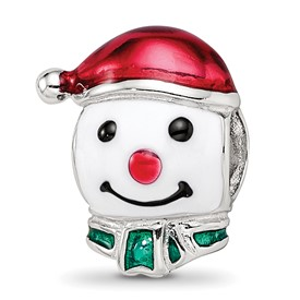 Reflection Beads Sterling Silver Enameled Snowman Head Bead