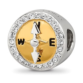 Sterling Silver Reflections Gold Tone CZ Moveable Compass Bead