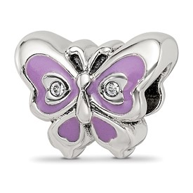 Reflection Beads Sterling Silver Purple and Green Enameled CZ Butterfly Bead