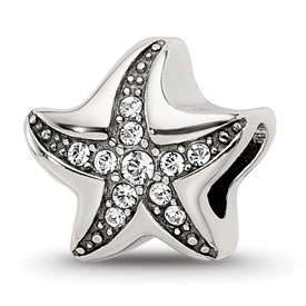 Reflection Beads Sterling Silver Swarovski Crystal Starfish Bead