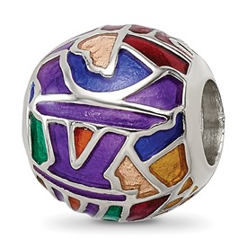 Reflection Beads Sterling Silver City Impressions Paris Mosaic Enamel Bead