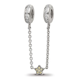 Sterling Silver Reflections 3in Security Chain CZ accent Beads
