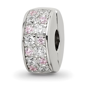 Sterling Silver Reflections White and Pink CZ Hinged Bead