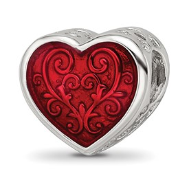 Sterling Silver Reflections with Red Enamel Embelishment Bead