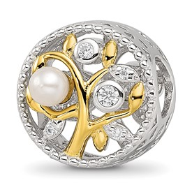 Sterling Silver Reflections Gold-tone Simulated Pearls and CZs Leaves Bead