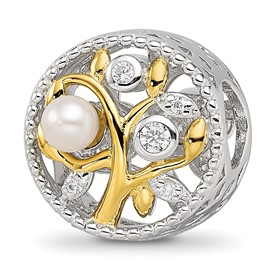 Reflection Beads Sterling Silver Gold-tone Fresh Water Cultured Pearl and CZ Leaves Bead