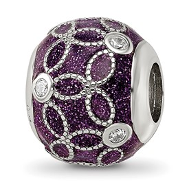 Sterling Silver Reflections CZs Sparkling Purple Enameled Bead