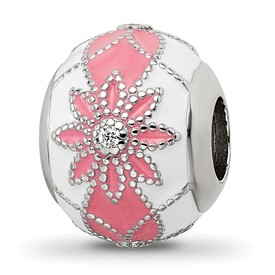 Sterling Silver Reflections CZs White and Pink Enameled Flowers Bead