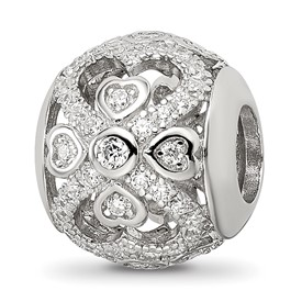 Sterling Silver Reflections CZ with Hearts Bead