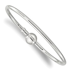 Reflection Beads Sterling Silver Bangle with a Circle Clasp Bead