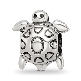 Sterling Silver Reflections Antiqued Turtle Bead