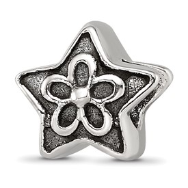 Sterling Silver Reflections Antiqued Star with Flower Kids Bead