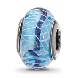 Sterling Silver Reflections Blue/White Weaved Glass with Blue Stripe Bead