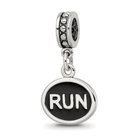 Reflection Beads Sterling Silver Black Enameled Run Dangle Charm