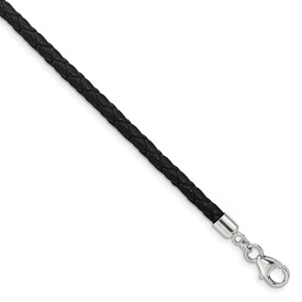 SS Reflections Black Leather 14in with 2in ext Choker/Wrap Bracelet