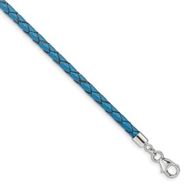 SS Reflections Blue Leather 14in with 2in ext Choker/Wrap Bracelet