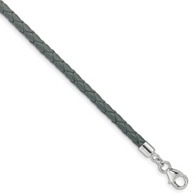 SS Reflections Gray Leather 14in with 2in ext Choker/Wrap Bracelet