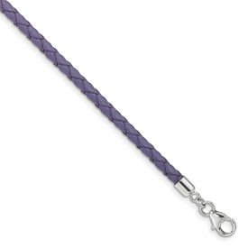Reflection Beads Sterling Silver Purple Leather 14 inch Choker Wrap Bracelet
