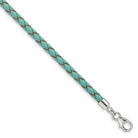 SS Reflections Teal Leather 14in with 2in ext Choker/Wrap Bracelet