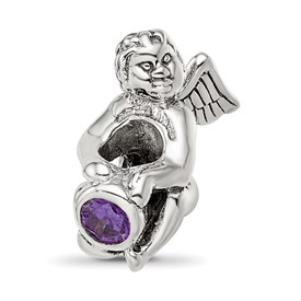 Reflection Beads Sterling Silver February CZ Birthstone Angel Bead