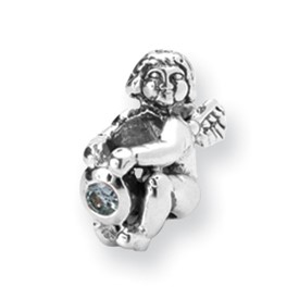 Reflection Beads Sterling Silver March CZ Birthstone Angel Bead