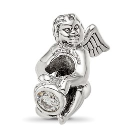 Reflection Beads Sterling Silver April CZ Birthstone Angel Bead