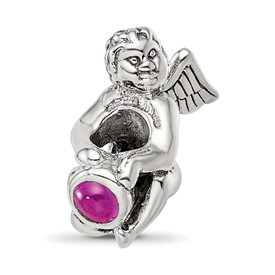 Reflection Beads Sterling Silver July CZ Birthstone Angel Bead