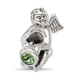 Reflection Beads Sterling Silver August CZ Birthstone Angel Bead