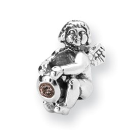 Reflection Beads Sterling Silver October CZ Birthstone Angel Bead
