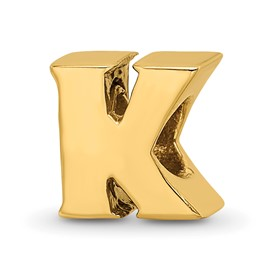 Reflection Beads Sterling Silver and Gold-plated Letter K Bead