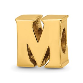 Reflection Beads Sterling Silver and Gold-plated Letter M Bead