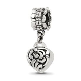 Reflection Beads Sterling Silver Heart Ash Dangle Bead