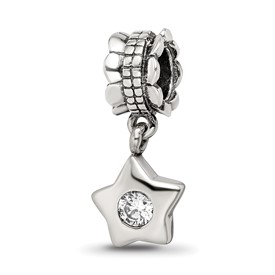 Reflection Beads Sterling Silver CZ Star Dangle Bead