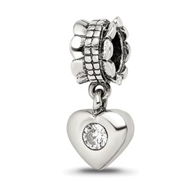 Reflection Beads Sterling Silver CZ Heart Dangle Bead