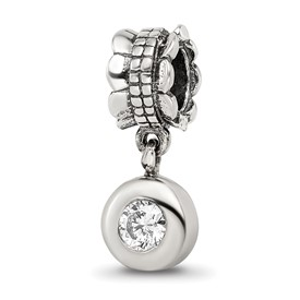 Reflection Beads Sterling Silver CZ Round Dangle Bead