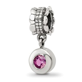 Reflection Beads Sterling Silver Pink CZ Round Dangle Bead
