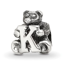 Reflection Beads Sterling Silver Kids Letter K Bead