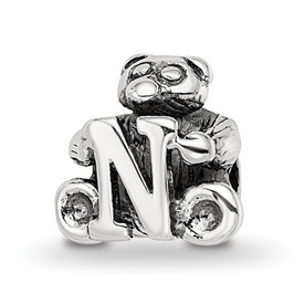 Reflection Beads Sterling Silver Kids Letter N Bead