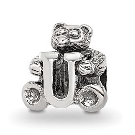 Reflection Beads Sterling Silver Kids Letter U Bead