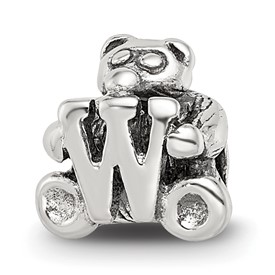 Reflection Beads Sterling Silver Kids Letter W Bead