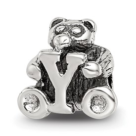 Reflection Beads Sterling Silver Kids Letter Y Bead
