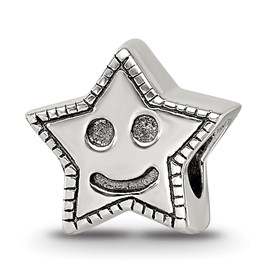 Reflection Beads Sterling Silver Kids Smiley Star Bead